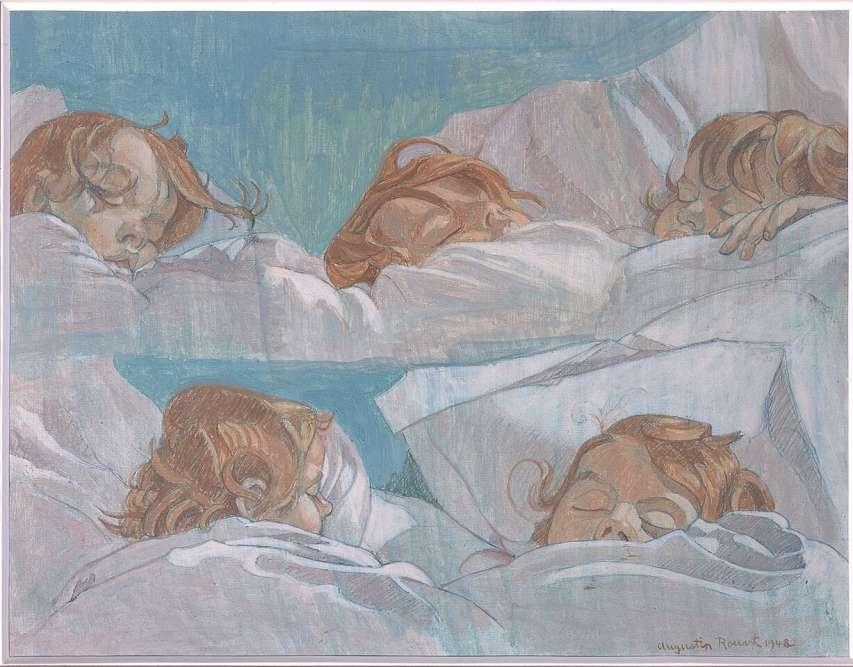 """""""La déclinaison en cinq portraits de son fils Jean-Marie sur un seul support atteste du goût de l'artiste à représenter ses proches, y compris dans leur intimité. Les teintes pastel servent parfaitement l'évocation de la douceur de l'enfance et  la plénitude du sommeil. Devenu académicien, le modèle a rompu avec la tradition familiale, préférant l'écriture à la peinture."""""""