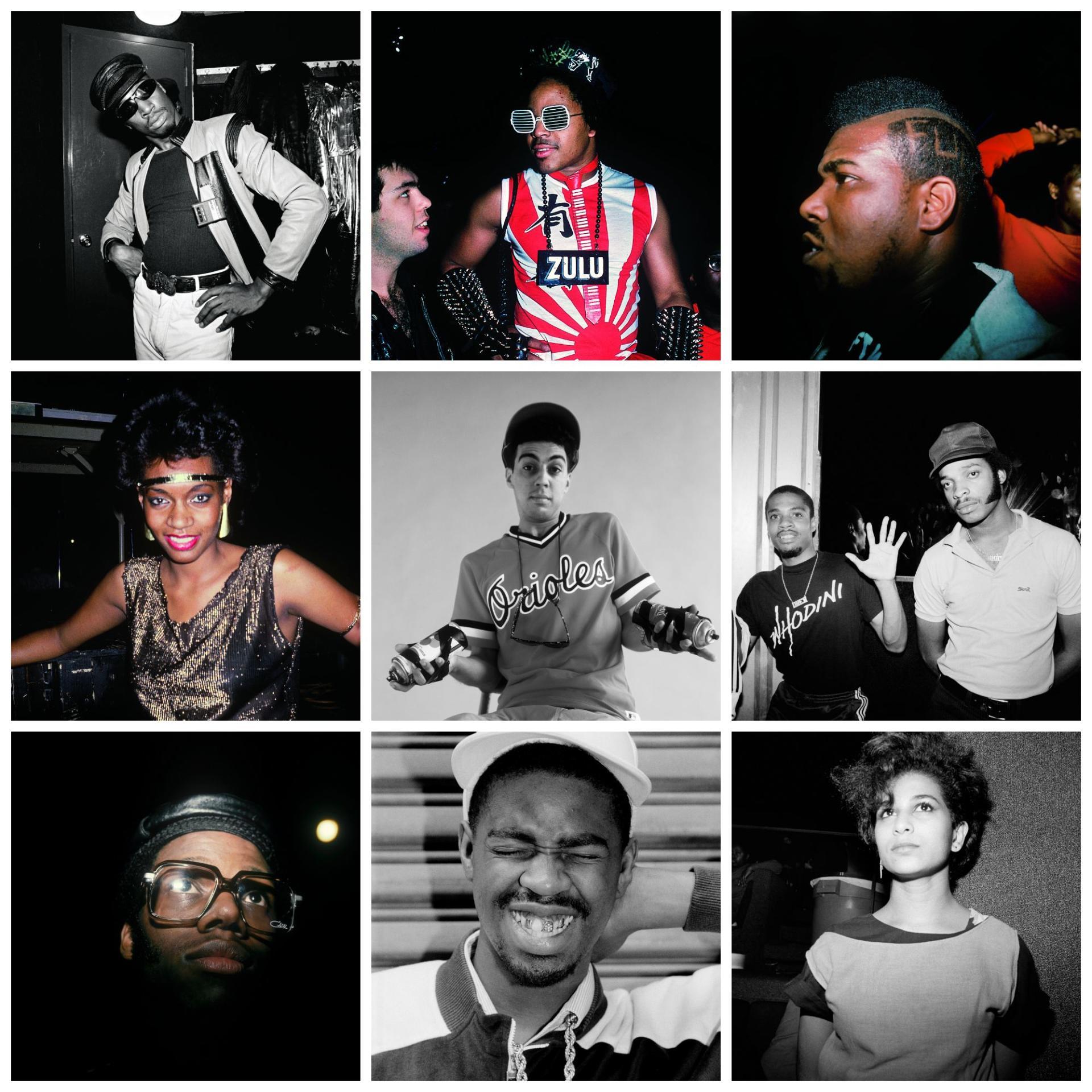 De gauche à droite et de haut en bas: le DJ  Grandmaster Flash; le producteur Rick Rubin et Afrika Islam; Afrika Bambaataa; Sabrina Gillison, du groupe West Street Mob; le grapheur Futura 2000; Grand Master Dee du groupe Whodini et Ahmed de Time Zone;  DJ D.St; Slick Rick; une fille au Roxy.
