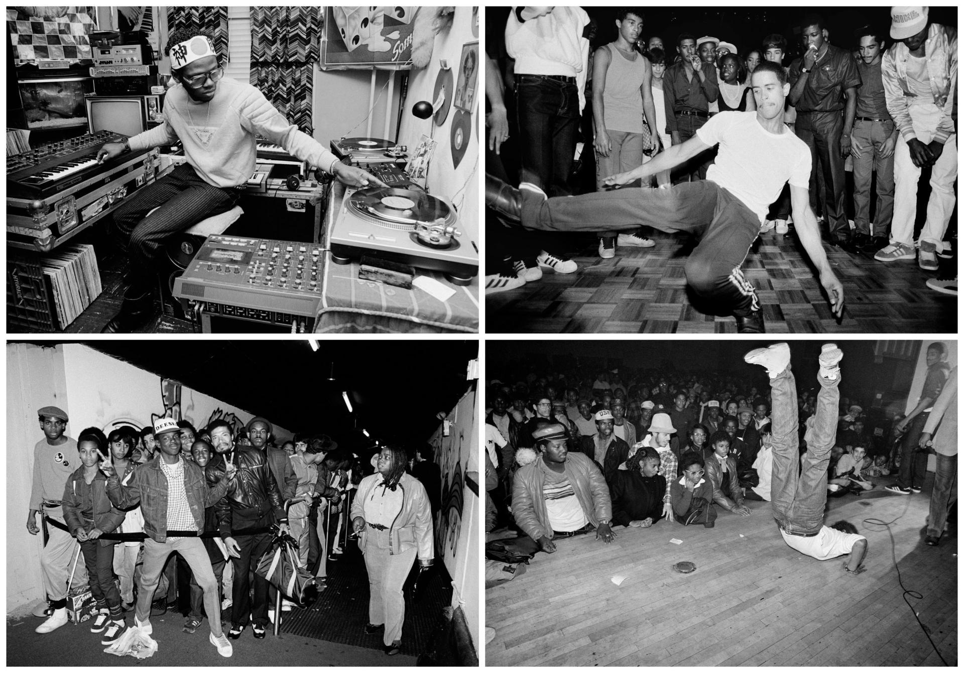 De gauche à droite et de haut en bas : le DJ GrandMixer D.St; le Break dancer Crazy Legs du groupe Rock Steady Crew; l'entrée du Roxy un vendredi soir; Mohamed du groupe Magnificent Force au Bronx River Center.