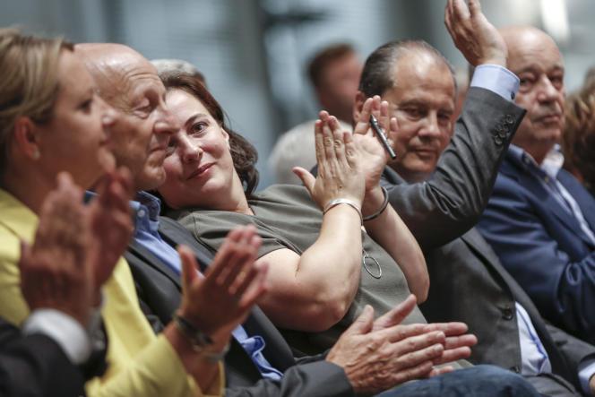 Jean-Luc Bennahmias, Emmanuelle Cosse, Jean-Christophe Cambadélis et Jean-Michel Baylet participent à l'ouverture de l'Université d'été du Parti socialiste à La Rochelle, vendredi 28 août.