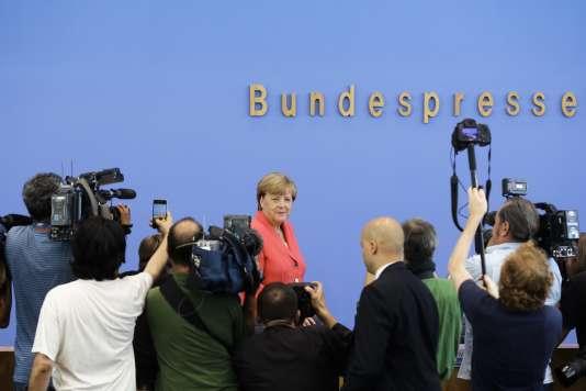 La chancelière allemande Angela Merkel lors d'une conférence de presse à Berlin le 31 août 2015.