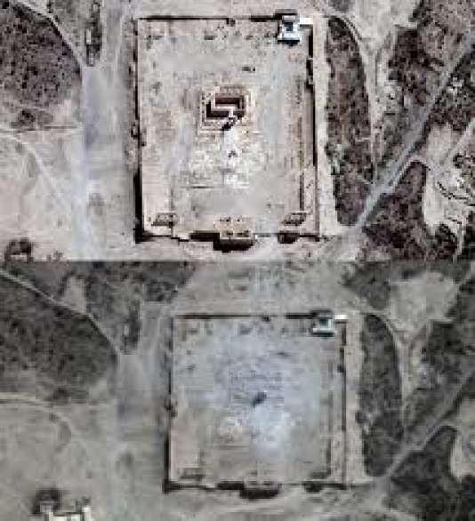 """Deux images satellites du temple de Baal,  sanctuaire principal de Palmyre dédié à Bêl, le """"Seigneur"""" en langue sémitique, prises le 27 août, avant sa destruction par l'EI, et après, le 31 août ."""