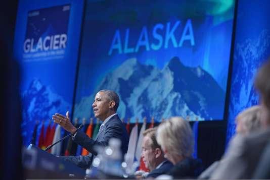 Barack Obama à Anchorage, en Alaska, à lors d'une conférence internationale sur l'Arctique.