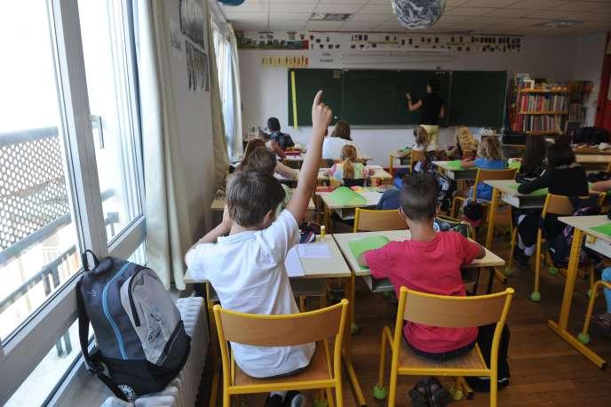 Dans une classe de l'école La Courbe, àAytré (Charente-Maritime), en 2015.