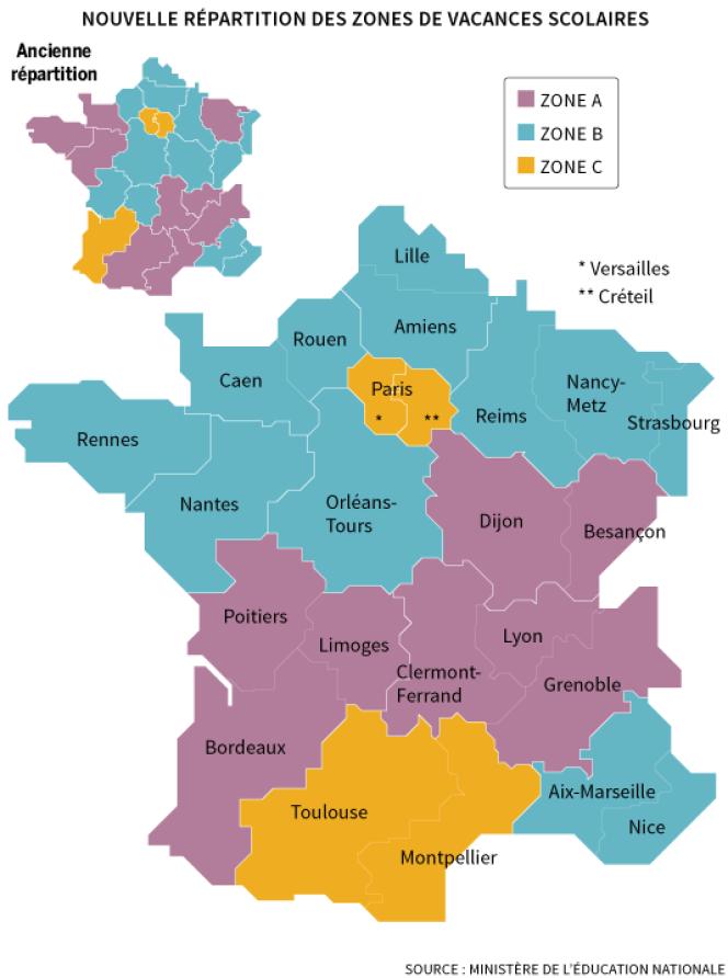 Les zones A,B, C pour les vacances scolaires à compter de 2015-2016