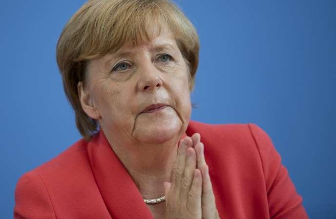 Angela Merkel, pendant sa conférence de presse, à Berlin, le 31 août.