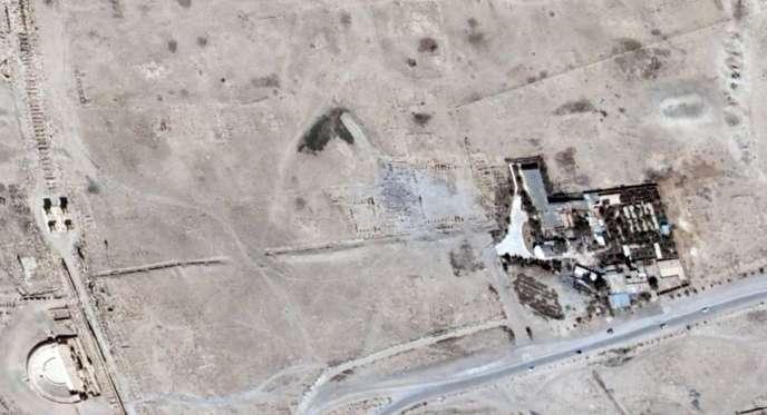 Photo prise le 27 août 2015 par le satellite Unitar-Unosat, montrant les ruines du temple Bêl à Palmyre.
