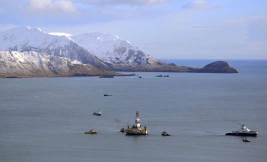 File - This Jan. 7, 2013 file photo shows the Shell floating drill rig Kulluk in Kodiak Island, Alaska's Kiliuda Bay as salvage teams conduct an in-depth assessment of its seaworthiness.  (James Brooks/Kodiak Daily Mirror via AP, File)