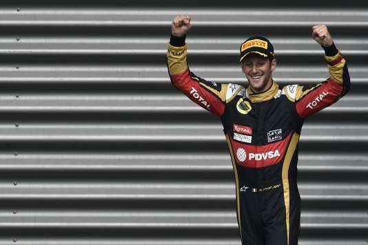 Romain Grosjean, après sa 3e place à Spa le 23 août.
