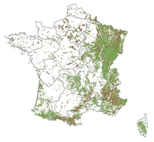 Répartition des forêts publiques et terrains relevant du régime forestier (landes, dunes...) sur le territoire métropolitain