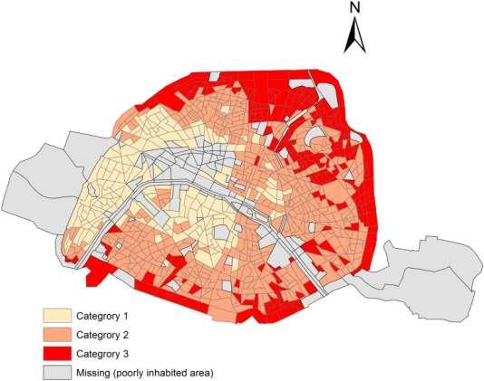 Répartition des habitants de Paris selon le statut socio-professionnel (catégorie 1 = plus aisées; catégorie 3 = plus défavorisées)