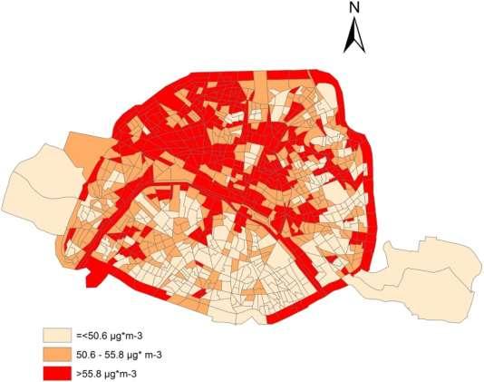 Concentrations moyennes annuelles de dioxyde d'azote (NO2) sur la période 2004 - 2009, sur le territoire parisien.