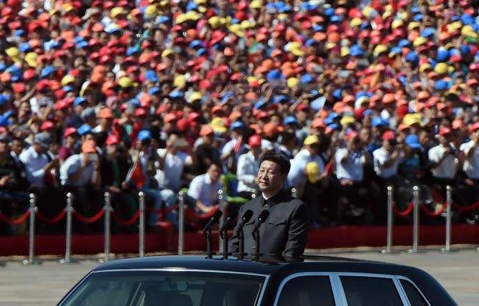 Le président chinois Xi Jinping lors de la revue des troupes jeudi 3 septembre à Pékin.
