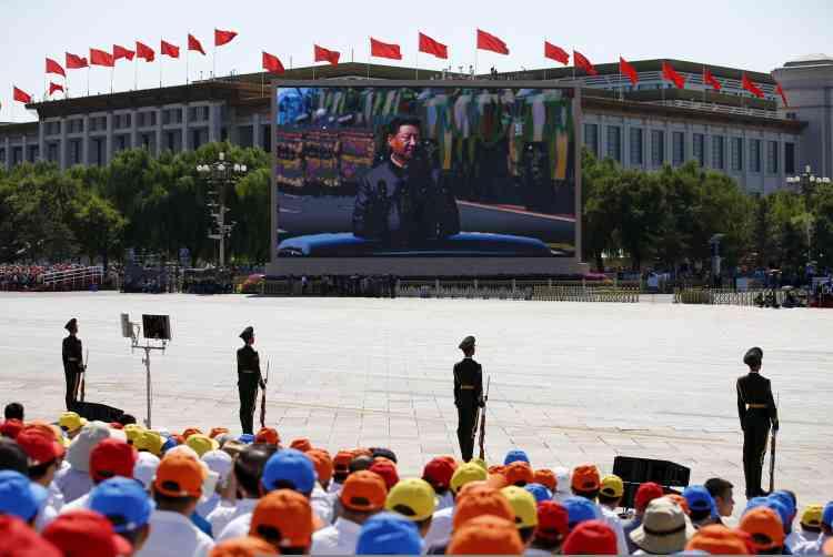 """""""La victoire totale de la guerre anti-japonaise a refait de la Chine un grand pays dans le monde"""", a déclaré le président chinois depuis la place Tiananmen."""