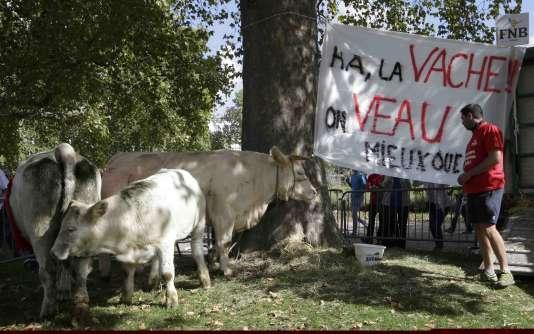 Manifestation d'agriculteurs place de la Nation à Paris, le 3 septembre 2015.