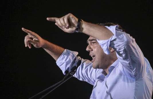 Alexis Tsipras lors d'un discours électoral le 3 septembre.