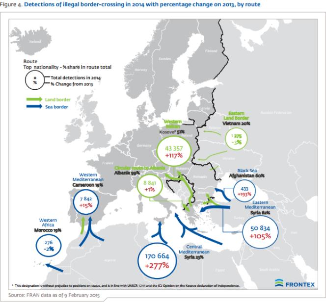 Les détections d'entrées illégales dans l'Union européenne par l'agence Frontex en 2014.