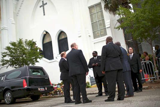 L'enterrement d'une des neuf victimes du massacre de l'église de Charleston, le 27 juin 2015.