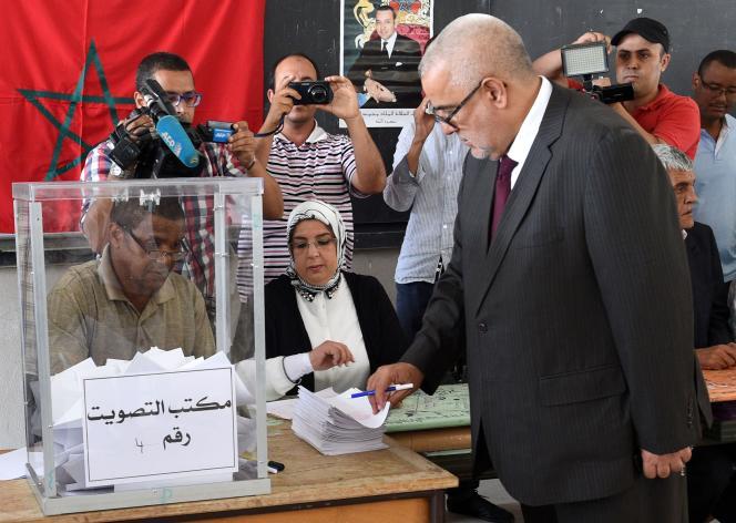 Le premier ministre et secrétaire général du Parti justice et développement, Abdelilah Benkirane, lors des élections locales à Rabat, le 4 septembre.