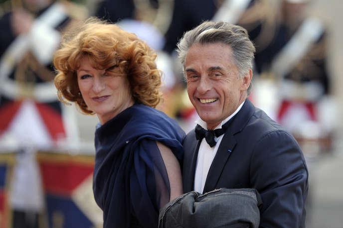 Muriel Mayette et Gérard Holtz lors d'un dîner à l'Elysée, en juin 2014.