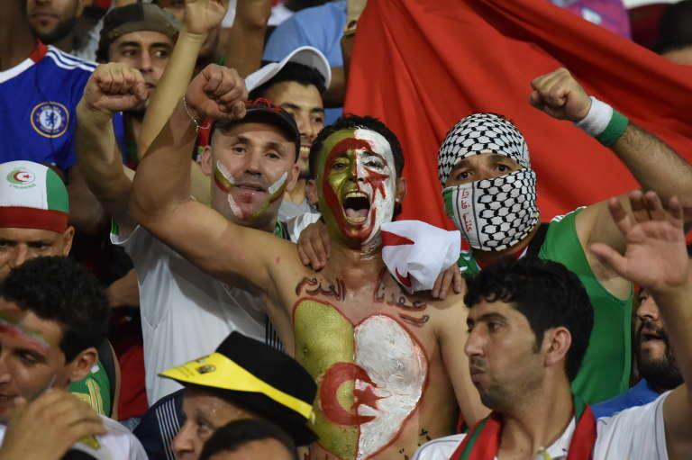 Des supporters algériens, lors de la CAN en Guinée équatoriale en février.