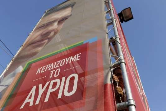 Bannière électorale de Syriza à Athènes le 4 septembre.