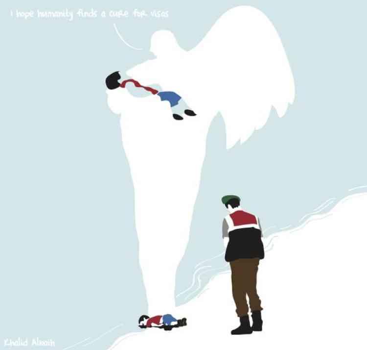«J'espère que l'humanité trouvera une solution pour régler le problème des visas», dit cet ange à Aylan Kurdi, dessiné par le Soudanais Khalid Albaih.