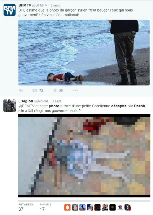 """Exemple d'utilisation de cette image de fillette décapitée en """"réponse"""" à celle du jeune Aylan."""