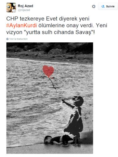 Ce montage, publié sur Twitter, reprend une œuvre célèbre de l'artiste Banksy, pour mettre en parallèle l'histoire d'Aylan avec celle d'autres enfants.