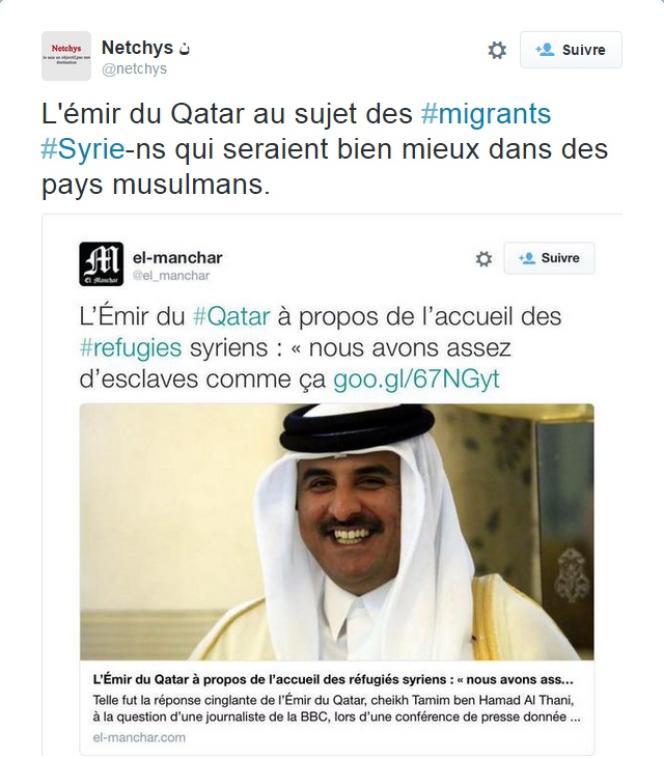 Fausse déclaration issue d'un site parodique, mais prise au sérieux par les militants anti-migrants.
