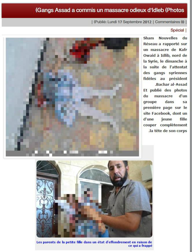 Autre exemple de cette photo en 2012, toujours sur un site pro-rebellion syrienne.