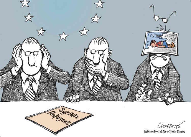 L'illustrateur Patrick Chappatte, qui officie dans l'International «New York Times», dénonce ici l'inaction des responsables européens face à la crise des migrants.