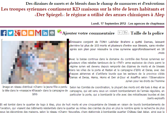 La même photo, sur un site pro-rebellion syrienne en 2012 (le texte est une traduction automatique de l'arabe)