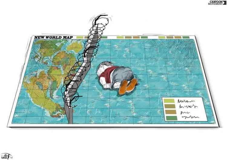 L'artiste jordanien Rafat Al Khateeb a dessiné une «nouvelle carte du monde» en réaction à la photo d'Aylan Kurdi. «L'idée (de ce dessin) est de montrer qu'un enfant se fiche des guerres et des crimes. L'enfant ne sait qu'une seule chose : que le monde entier est responsable de sa mort», a-t-il expliqué au quotidien britannique «The Independent».
