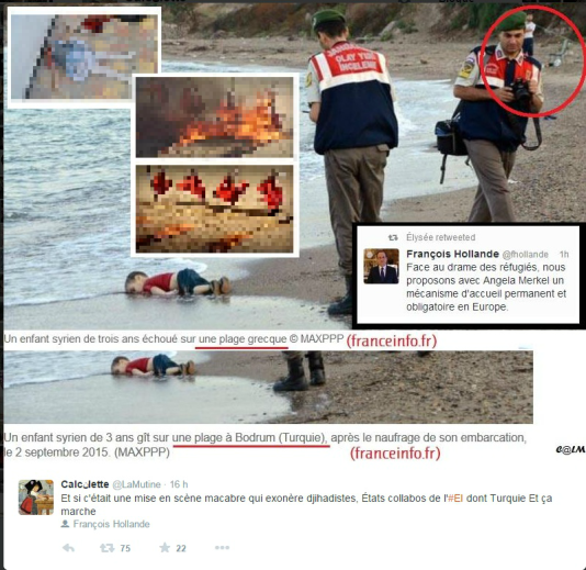 Capture d'un tweet agitant l'hypothèse d'une manipulation. Nous avons flouté les deux inserts d'image, le premier étant le cadavre d'une petite fille, le second des prisonniers de l'Etat islamique brûlés vifs.