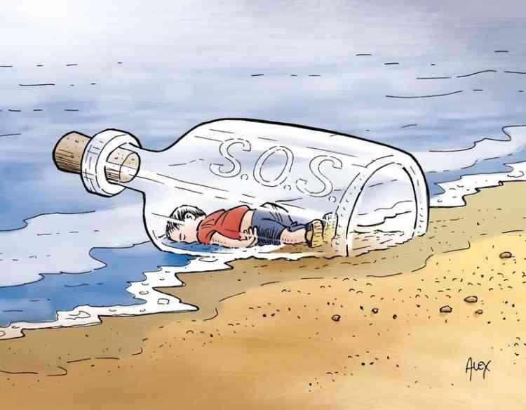 Ce dessin, intitulé «4 septembre : Aylan Kurdi, jeté à la mer» et signé du caricaturiste Alex, a été publié dans le quotidien suisse «La Liberté».