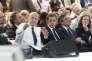 Alain Juppé, Nicolas Sarkozy, François Fillon et Nathalie Kosciusko-Morizet, le 30 mai , lors du congrès fondateur du parti Les Républicains.