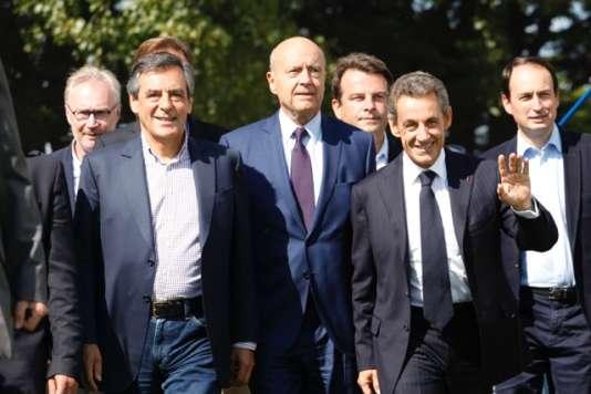 De gauche à droite : François Fillon, Alain Juppé et Nicolas Sarkozy, samedi 5 septembre à La Baule.