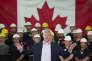Stephen Harper en campagne, le 1er septembre, dans une aciérie à  Burlington, dans l'Ontario.