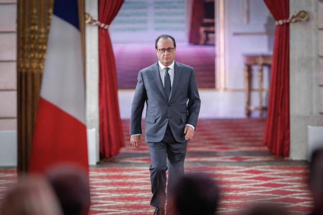 Lors de la sixième conférence de presse semestrielle de François Hollande, au palais de l'Elysée, à Paris, le 7 septembre.