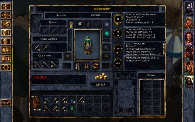 Fiche d'inventaire de Baldur's Gate: Enhanced Edition. Les objets jouent également un rôle important pour triompher.