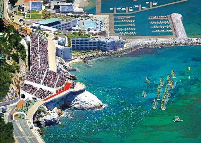 L'espace spectateurs  du site marseillais d'accueil des épreuves de voile pour les Jeux de 2024.