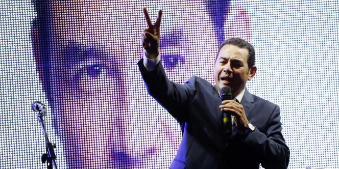 Le président guatémaltèque, Jimmy Morales, pendant sa campagne présidentielle en septembre 2015.