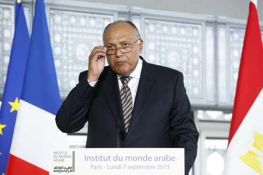 Egyptian Minister for Foreign Affairs Sameh Shoukry delivers a speech after visiting the 'Osiris, Egypt's Sunken Mysteries' exhibition at the Arab World Institute on September 7, 2015 in Paris. This exhibition present the discoveries by submarine exploration of the European Institute for Underwater Archaeology (IEASM) in Aboukir Bay, undertaken by Franck Goddio, director of the excavation and curator of the exhibition. AFP PHOTO / POOL / YOAN VALAT