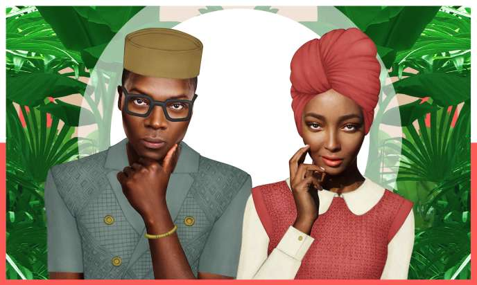 Sur cette illustration de l'artiste Pierre-Christophe Gam, les Affogbolos, un jeune couple fictif de Lagos, à la fois citoyens du monde et enracinés dans leurs traditions.