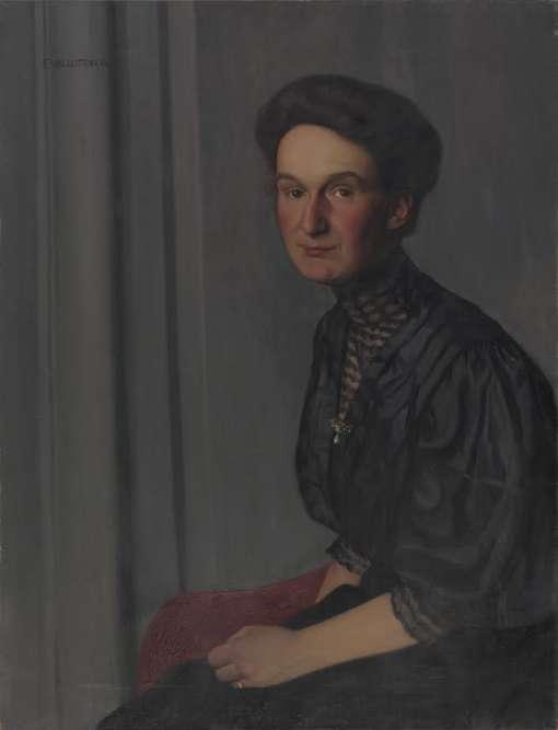 """""""Entre 1905 et 1936, ils réunissent une collection de peintures, de sculptures et de dessins. Celle-ci comprend plusieurs portraits de famille dont font partie ces deux tableaux exécutés par Félix Vallotton."""""""