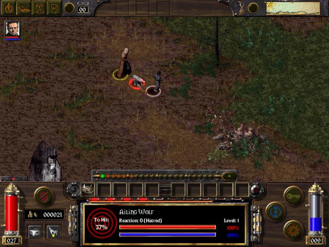 Arcanum : le système de combat en action lors d'une rencontre avec un loup.