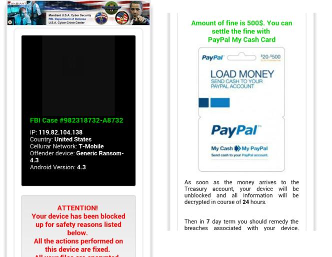 Les écrans du logiciel demandant le paiement d'une somme de 450 euros.