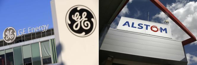 Cette combinaison de photos d'archives réalisée le 7 septembre 2015 montre une vue de GE Energy, l'un des principaux fournisseurs mondiaux de technologies de production et de distribution d'énergie, à Belfort, et une vue prise le 8 mars 2012 du de l'usine d'Alstom, à Aytré, près de La Rochelle.