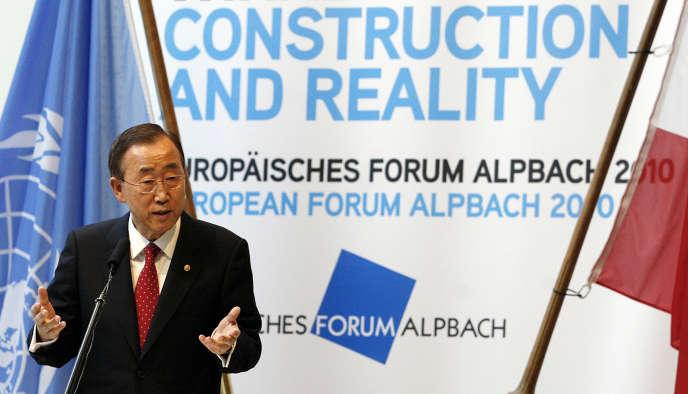 Le secrétaire général de l'ONU, Ban Ki-moon, lors du Forum européen à Alpbach, le 4 septembre 2010.